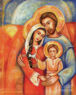 Virgin Mary Painting - The Holy Family by Eva Campbell