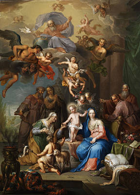 Cherub Painting - The Holy Family by Franz Christoph Janneck
