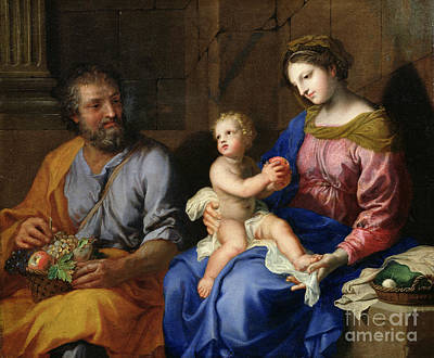Christmas Greeting Painting - The Holy Family by Jacques Stella