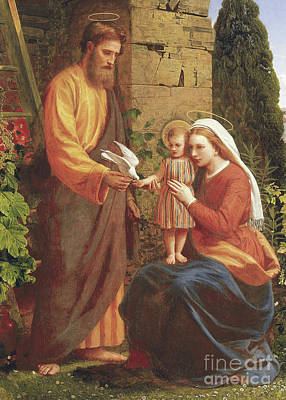 Child Jesus Painting - The Holy Family by James Collinson