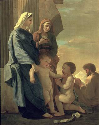 Blessed Virgin Painting - The Holy Family by Nicolas Poussin