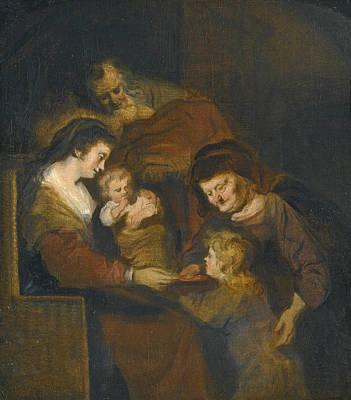 Salomon Koninck Painting - The Holy Family by Salomon Koninck