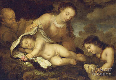 Agnus Painting - The Holy Family With Infant Saint John The Baptist by Jurgen Ovens