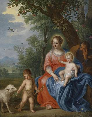 Painting - The Holy Family With John The Baptist And The Lamb by Jan Brueghel the Younger