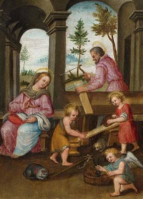Flemish School Painting - The Holy Family With Joseph by MotionAge Designs
