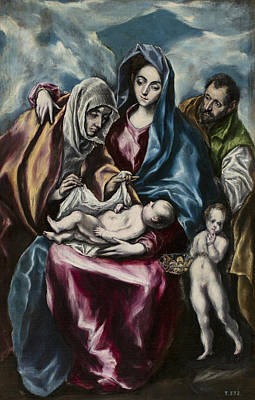 Painting - The Holy Family With Saint Anne And Saint John by El Greco
