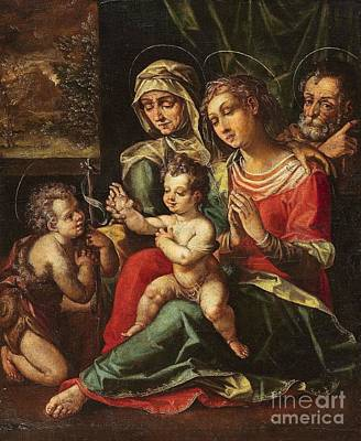 Flemish School Painting - The Holy Family With Saint Anne And Saint John by Celestial Images