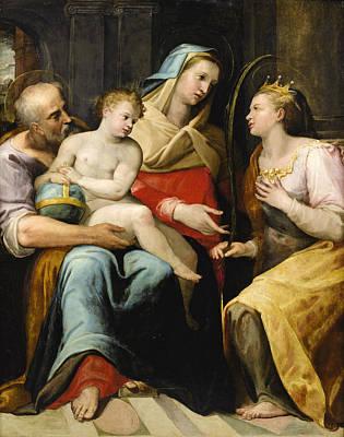 Lorenzo Sabatini Painting - The Holy Family With Saint Catherine Of Alexandria by Lorenzo Sabatini