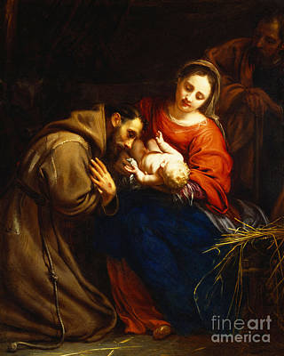 Adoration Painting - The Holy Family With Saint Francis by Jacob van Oost