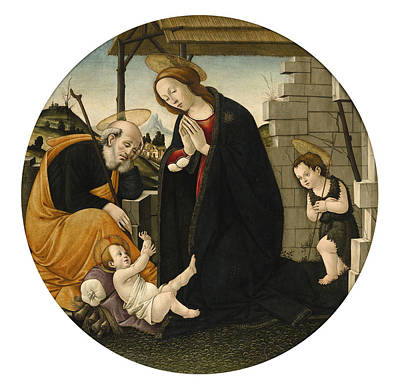 Sandro Botticelli Painting - The Holy Family With Saint John The Baptist by Entourage de Sandro Botticelli