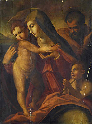 Painting - The Holy Family With Saint John The Baptist by Francesco del Brina
