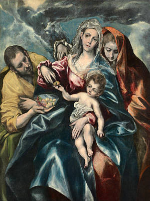 Painting - The Holy Family With Saint Mary Magdalen by El Greco