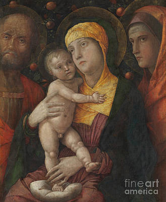 Jesus Art Painting - The Holy Family With Saint Mary Magdalene by Andrea Mantegna