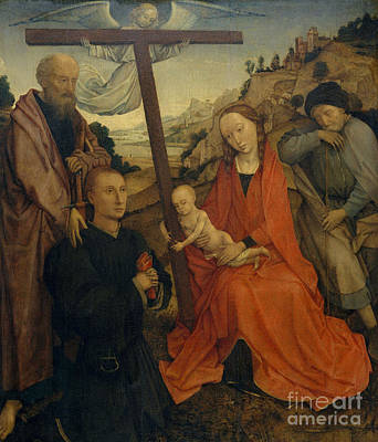 Crucifix Wall Art - Painting - The Holy Family With Saint Paul And A Donor by Rogier van der Weyden