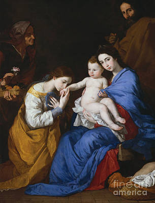 Saint Catherine Painting - The Holy Family With Saints Anne And Catherine Of Alexandria, 1648  by Jusepe de Ribera