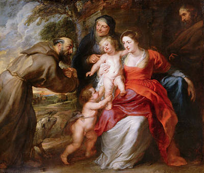 The Holy Family With Saints Francis, Anne And John The Baptist Art Print by Peter Paul Rubens