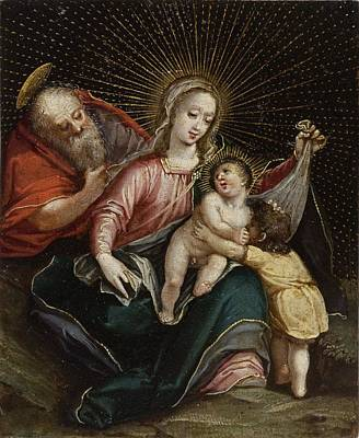 Con Painting - The Holy Family With St. John The Baptist by Celestial Images