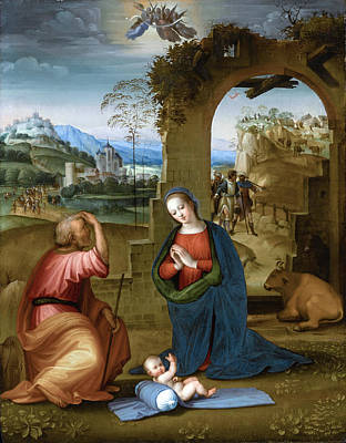 Painting - The Holy Family With The Annunciation To The Shepherds Beyond by Ridolfo Ghirlandaio