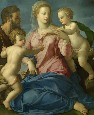 Baptist Painting - The Holy Family With The Infant Saint John The Baptist by Agnolo Bronzino