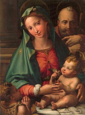 Perino Del Vaga Painting - The Holy Family With The Infant Saint John The Baptist by Perino del Vaga