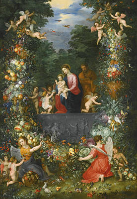 Painting - The Holy Family Within A Garland Of Fruit, Flowers And Vegetables Held By Angels by Hendrick van Balen