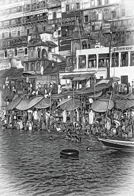 Maps Maps And More Maps - The Holy Ganges - Paint bw by Steve Harrington