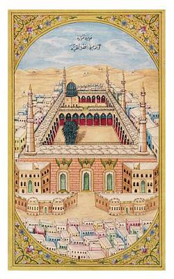 Mecca Painting - the Holy Shrines of Mecca and Medina by Fateh Muhammad Mussawar