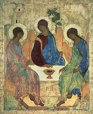 Rublev Trinity Painting - The Holy Trinity by Andrei Rublev