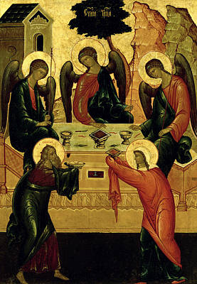 Tempera Painting - The Holy Trinity by Novgorod School