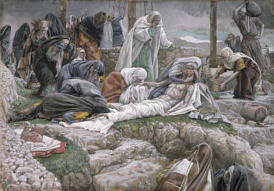 Shrouded Painting - The Holy Virgin Receives The Body Of Jesus by Tissot