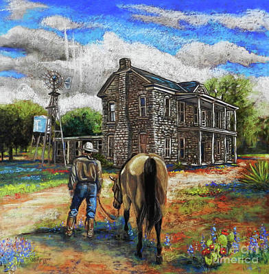 Buckskin Horse Pastel - The Home Place by Cat Culpepper