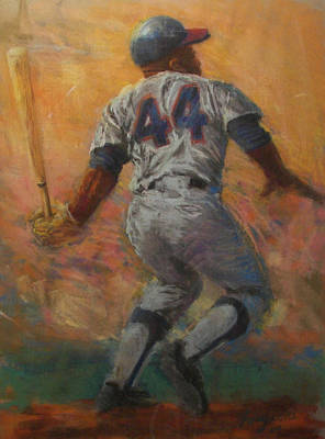 Baseball Card Painting - The Homerun King by Tom Forgione