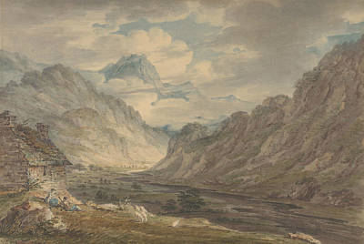 Drawing - The Honister Pass From Gatesgarth Farm, Gatesgarthdale, Lake District by Edward Dayes