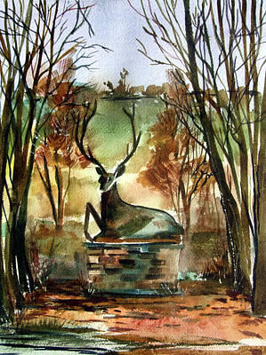 Autumn Landscape Drawing - The Honorable Stag by Mindy Newman