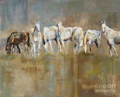 Horse Wall Art - Painting - The Horizon Line by Frances Marino