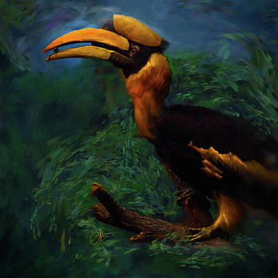 Hornbill Digital Art - The Hornbill by Donna Martinez