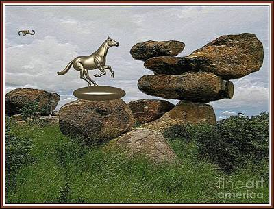 Statue Portrait Digital Art - The Horse In The Park Thitp2 by Pemaro