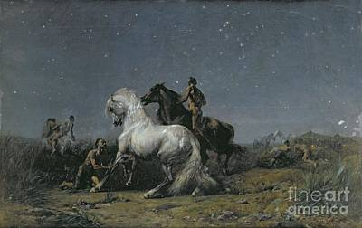 The Horse Painting - The Horse Thieves by Ferdinand Victor Eugene Delacroix