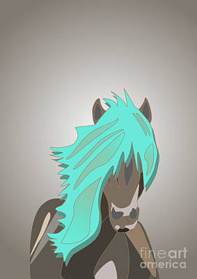 Digital Art - The Horse With The Turquoise Mane by Barefoot Bodeez Art