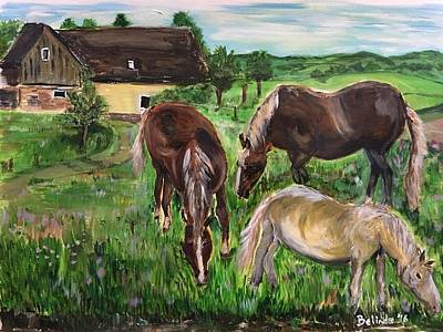 Outoors Painting - The Horses Of Larochemillay by Belinda Low