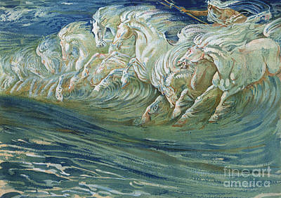 Greek Painting - The Horses Of Neptune by Walter Crane