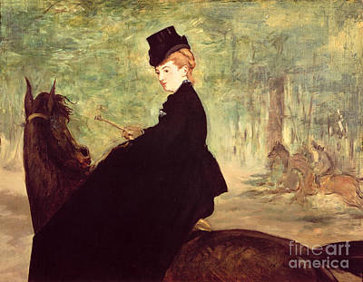 Women On Horses Painting - The Horsewoman by Edouard Manet