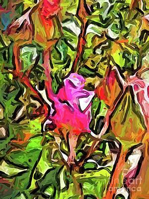 Digital Art - The Hot Pink Rosebud by Jackie VanO