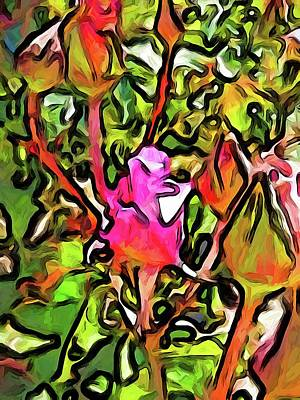 Digital Art - The Hot Pink Rosebud With The Green Leaves by Jackie VanO