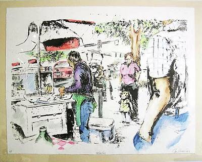 Fort Collins Mixed Media - The Hotdog Man by Jeri Lynn Nichols