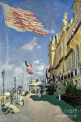 Flags Painting - The Hotel Des Roches Noires At Trouville by Claude Monet