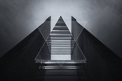 Reflective Photograph - The Hotel Experimental Futuristic Architecture Photo Art In Modern Black And White by Philipp Rietz