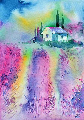 Painting - The House By The Lavender Field by Zaira Dzhaubaeva