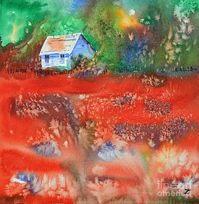 Painting - The House By The Poppy Field by Zaira Dzhaubaeva