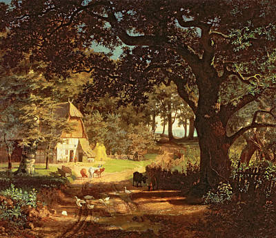 Albert Bierstadt Painting - The House In The Woods by Albert Bierstadt